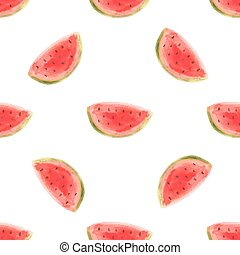 Watercolor watermelon slice vector illustartion. Raw fruit...