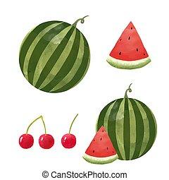 Watercolor watermelon vector set