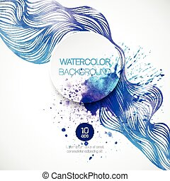 Watercolor wave background. Vector illustration