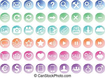 watercolor web icon set, vector