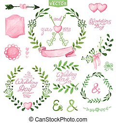 Watercolor Wedding set.Branches,laurels wreath,pink decor