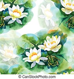 Watercolor white water-lilly flowers seamless pattern with frog on pond