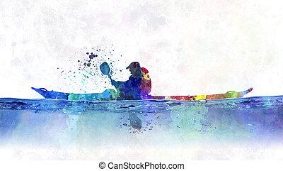 watercolor whitewater kayak