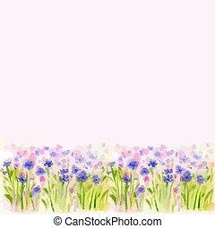 Watercolor Wild Flower Vector Borderters - Watercolor Wild...