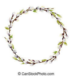 Beautiful wreath with watercolor willow tree branches