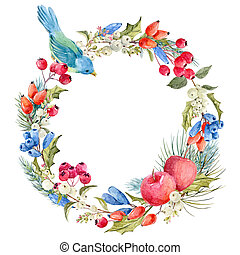 Watercolor winter christmas floral wreath