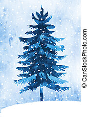 Watercolor winter fir tree