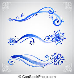 Watercolor winter frost ornament as template for banners