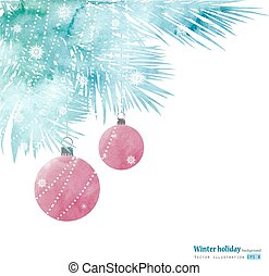 Watercolor winter holiday tree. - Watercolor style winter...