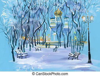 Watercolor winter landscape with church in park and people silhouettes.