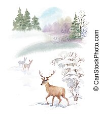 Watercolor winter landscape with deers illustration