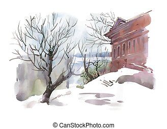 Watercolor winter sketch of building and trees near the river.
