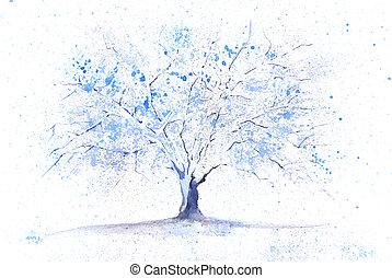 Watercolor winter tree