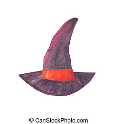 watercolor witch hat halloween isolated on white
