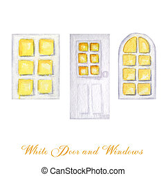 Watercolor wodden doors and windows in vintage style on white background. Hand drawing of white door set.