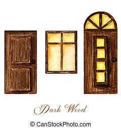 Watercolor wodden doors with windows and luminous window in vintage style on white background. Hand drawing of dark brown wood door set.