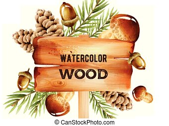 Watercolor wooden sign with forest decorations on background