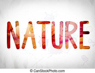 watercolor, woord, concept, kunst, natuur