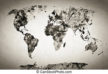 Watercolor world map. Black and white paint on paper, retro...