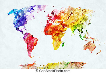 Watercolor world map. Colorful paint on white paper. HD quality