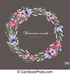 Watercolor wreath with flowers, foliage and branch.