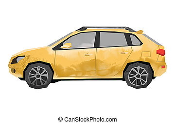 Watercolor yellow car. Isolated automobile. Cartoon print for kids room. Side view of SUV. Urban transportayion transportation