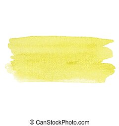 Watercolor yellow vector hand paint texture, abstract isolated on white background