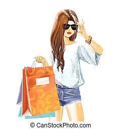 watercolor, zakken, vrouw winkelen, sexy
