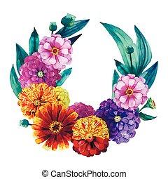 Watercolor zinnia wreath