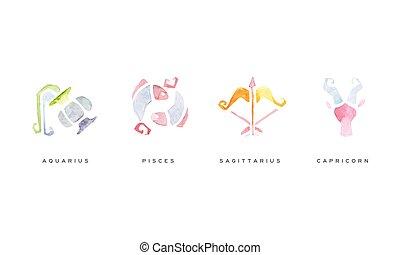 Watercolor Zodiac Signs Set, Sagittarius, Pisces, Aquarius, Capricorn Vector Illustration