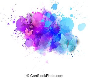 Watercolored background with butterflies