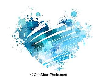 watercolored, grunge, coeur