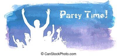 watercolored, grunge, fondo, festa
