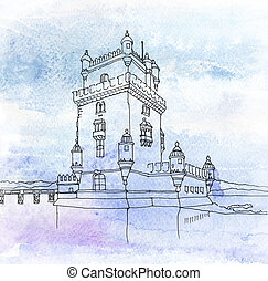 Tower of St Vincent. Lisbon, Portugal - Watercolored...