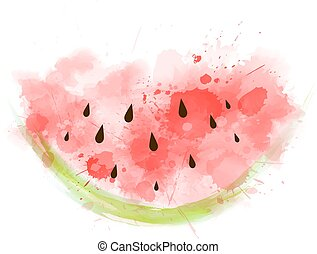 Watercolored watermelon.