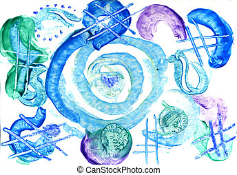 watercolors abstract blue background
