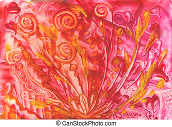watercolors abstract red background