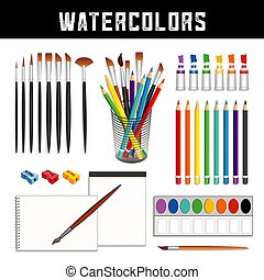 Watercolors, Brushes, Paints, Pencils, Paper - Watercolor...