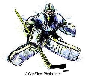 watercolors., goal, hockey, sport, main, dessiné, hiver, éclaboussure, résumé, sketch.