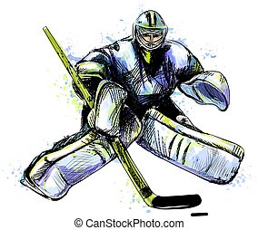 watercolors., invierno, resumen, mano, salpicadura, hockey, ...