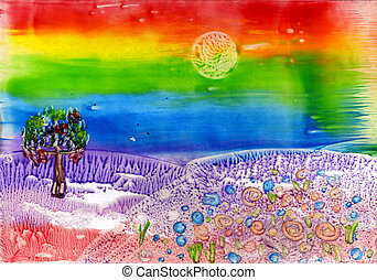 watercolors landscape with rainbow