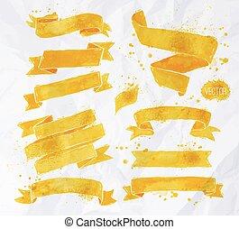 Watercolors ribbons yellow