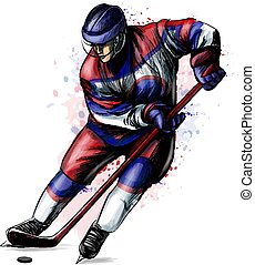 watercolors., sport, hockey, main, dessiné, hiver, éclaboussure, joueur, résumé, sketch.