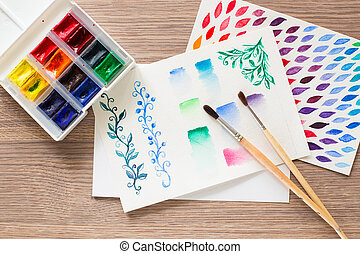 Watercolor paint box and brushes for painting