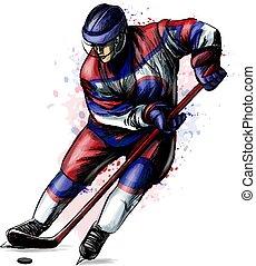 watercolors., zima, abstrakcyjny, ręka, gracz, bryzg, hokej, pociągnięty, sport, sketch.