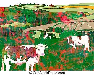watercolour, 암소, 목초