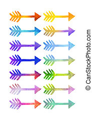 Watercolour arrows in various colours - Collection of...