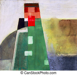 watercolour, astratto, torre, #2