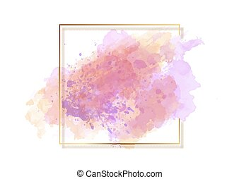 watercolour background with gold border 0101