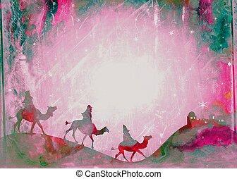 Watercolour Christmas Magi Paper
